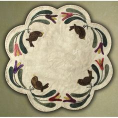 Primitive Gatherings Birds of a Feather The Pattern Hutch wool applique craft pattern table mat