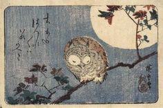 """Hiroshige, """"Gufo su un acero sotto la luna piena"""""""