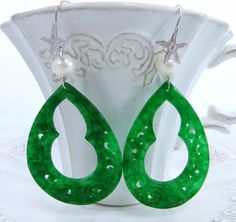 Earrings made with green carved jade, white pearls and sea star ear hooks, silver 925.  36 £  www.sofiasbijoux.com  http://www.ebay.co.uk/itm/Sofias-Bijoux-Green-carved-jade-white-pearls-earrings-silver-925-Made-Italy-/200946225898?pt=UK_JewelleryWatches_WomensJewellery_Rings_SR=item2ec95412ea