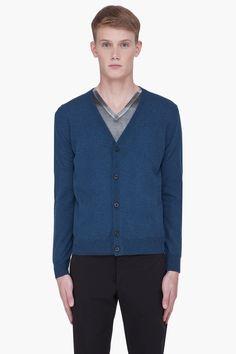 Maison Martin Margiela - Blue Leather Elbow Cardigan.