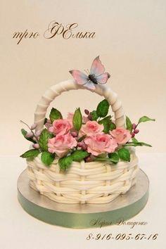 Cumpleaños Nail Art d nail artist Basket Weave Cake, Flower Basket Cake, Flower Pot Cake, Beautiful Cake Designs, Gorgeous Cakes, Pretty Cakes, Amazing Cakes, Bolo Fondant, Fondant Cakes