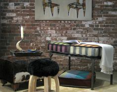 Our new Harlequin cushions and cowhide ottoman paired with our popular Patagonia stool!