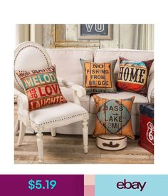 Cushions, Decorative Pillows Retro British Style Cushion Cover Throw Linen Home Sofa Decor Pillow Case 18'' #ebay #Home & Garden
