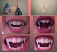 vampire teeth - Halloween Do it yourself Cosplay Tutorial, Cosplay Diy, Cosplay Makeup, Costume Makeup, 90s Makeup, Dead Makeup, Scary Makeup, Cosplay Dress, Diy Halloween Costumes For Girls