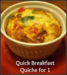 Need a quick low carb/high protein breakfast for one? This quick breakfast quiche will solve it! Takes 20 minutes and gives you a great start to the day. #lowcarb