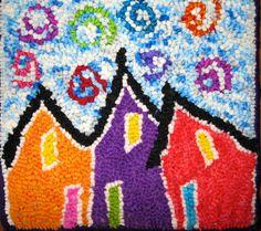 Jelly Bean Row Houses, St. John's, Newfoundland. Newfoundland, Jelly Beans, Rug Hooking, Handmade Rugs, Primitive, Kids Rugs, Blanket, Drawings, Crochet