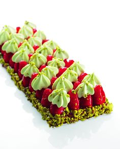 "Strawberry tart with pistachio cream ""Best Of Christophe Michalak"" Editions Alain Ducasse Sweet Desserts, Just Desserts, Dessert Recipes, Tart Recipes, Pistachio Cream, Dessert Presentation, French Patisserie, French Pastries, Sweet Tarts"