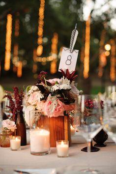decoracion de mesas para bodas con flechas - 25 ideas de numeros para mesas de bodas!
