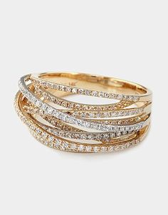 Gorgeous stacked diamond ring in white & yellow gold. - via Lord & Taylor