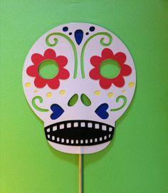 Sugar skull mask on a stick wedding photo prop by ScrapStarz.