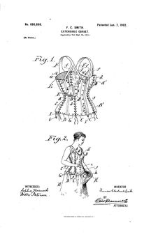 1902 Extensible corset  US patent 690, 898  full adjust-ability.