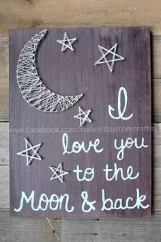 An original design from Nailed It! Custom Crafts. This was free hand done completely and in my own handwriting! No use of vinyl decals or stenciling and the string art was free handed as well. I love you to the moon and back, string art, moon, going away gift, wood signs, unique, birthday, gift, most popular item, pinterest, teen room decor, dorm decor | Cherry stained wood. White shimmery string and grey string. Pick and choose your colors to match your decor at home and make this your own.
