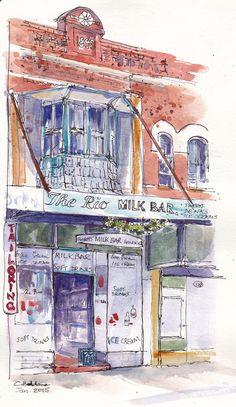 Rio Milkbar, Summer Hill, Sydney by Chris Haldane #watercolor #urban #sketch