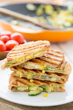 Zucchini & Corn Panini with Pepper Jack Cheese - Oh My Veggies! - Zucchini & Corn Panini with Pepper Jack Cheese – Oh My Veggies! Vegetarian Panini, Vegetarian Sandwich Recipes, Veggie Recipes, Cooking Recipes, Vegetarian Dinners, Corn Recipes, Paninis, Healthy Snacks, Healthy Recipes