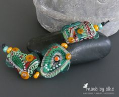 Handmade lampwork beads set Jungle Fever by calypsosbeads