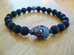 Men's Spiritual Protection, Strength, Fortune Bracelet with Semi Precious Cobalt Hematites, Matte Onyx, Micro-Pave CZ Cobalt Skull - Fashion by tocijewelry on Etsy