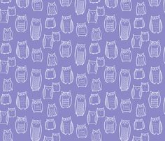 """""""Little"""" Night Owl Lavender/White fabric by leanne on Spoonflower - custom fabric"""
