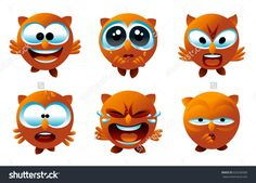 Owl smiley face icons or animal emoticons with cartoon face expressions and emotions. All characters are isolated on white. Full vector illustration.