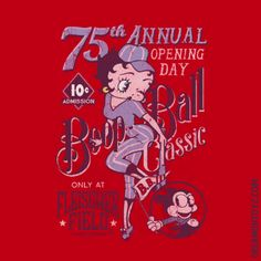 MORE Betty Boop Images http://bettybooppicturesarchive.blogspot.com/  ~And on Facebook~ https://www.facebook.com/bettybooppictures   Baseball Betty Boop and Bimbo 75th Annual Opening Day Boop Ball Classic only at Fleischer Field #Greeting #Sports