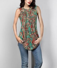 Another great find on #zulily! Green Paisley Sleeveless Notch Neck Pin-Tuck Tunic by Reborn Collection #zulilyfinds