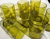 Upcycled Wine Bottle Glasses made from Recycled Yellow Wine Bottles 16oz  Set of 2. $18.00, via Etsy.