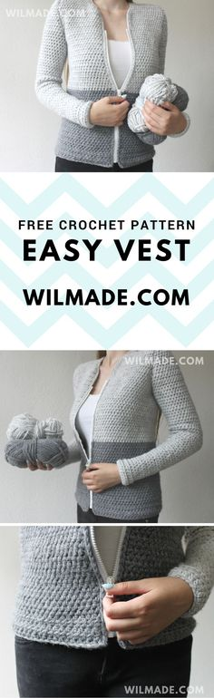 Free #crochet pattern of this easy #vest #cardigan can be found on wilmade.com
