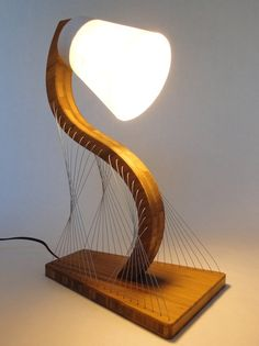 """Contour Lamp 10"""" x 7"""" x 16"""" Bamboo, Steel Cable, Rice Paper"""