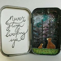 Stargazing Bears a paper diorama. by MyWonderBoxEmporium on Etsy Altered Tins, Altered Art, Christmas Shadow Boxes, Shadow Box Art, Tin Can Crafts, Matchbox Art, Creative Box, Artist Card, Tin Art