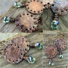 Green mystic quartz copper handmade artisan earrings by pinkipinka