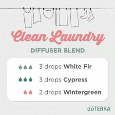 Aaah, nothing like the scent of Clean Laundry to make you feel truly at home. Diffuse this blend anytime you wish for a cozy, uplifting feeling, or when guests come over.