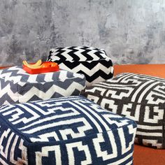 These geometric poufs would be fun as extra seating, ottomans, or for the kiddos.