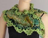 Green Scarf / Crochet Scarf /  Holiday Accessories