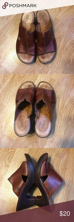 Born brown leather slide sandals, size 8 Born brown leather slide sandals, lightly used, smoke free, size 8 Born Shoes Sandals