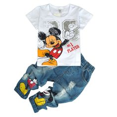 Children's wear autumn summer boys sports leisure suit Mickey T-shirt jeans trousers two sets clothes