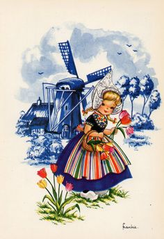 Vintage postcard 70s  Dutch girl