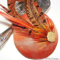 Burnt Orange Pheasant Feather Fascinator by ChantillyLaceDesigns