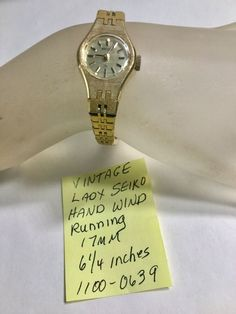 Vintage Ladys Hand Wind Seiko Wristwatch 6 Inches Running. Condition is Pre-owned.