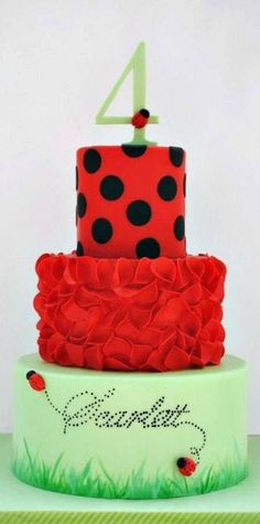 Very red lady bug cake