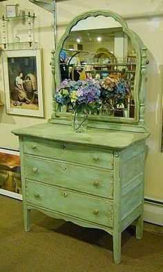 Antique Dresser with Mirror Painted Distressed Cottage Chic.