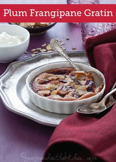 Plum Frangipane Gratin (Gluten-Free, Grain-Free, Paleo) ∕∕ Slices of plums are covered with an almond frangipane in this rich and buttery fruit gratin. Paleo Dessert, Gluten Free Desserts, Delicious Desserts, Dessert Recipes, Yummy Food, Breakfast Recipes, Cobbler, Fudge, Crumble Pie