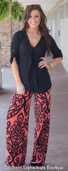 Coral/Black Damask Palazzo Pants / Southern Sophisticate Boutique