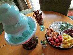 Chocolate fountain! Added blue food coloring to white chocolate for a boy baby shower!