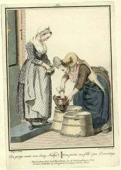 Milk maid and customer, in The Batavian Republic (a.k.a. The Netherlands.) Engraved by Lodewijk Portman (1772 - ca. 1813), published in 1803.