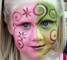 Fairy Face Painting like the swirls, not the pink and green