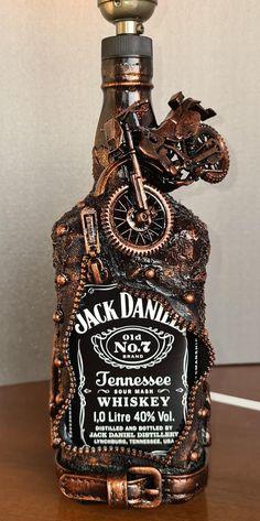 Bottle Art, Bottle Crafts, Gifts For Husband, Fathers Day Gifts, Jack Daniels Gifts, Jack Daniels Whiskey, Jack Daniels Birthday, Liquor Dispenser, Club Lighting