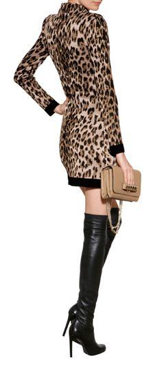 Leopard Print Knit Dress - BALMAIN