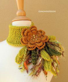 Honeysuckle Flower Scarflette by gsakowskidesigns via Etsy.