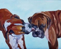 Kissing Boxers pet portrait by Evelyn McCorristin Peters @ Barking Dog Studio