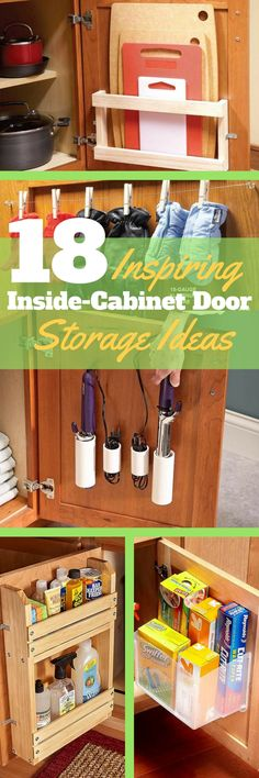 Cutting Board Storage - To store cutting boards, mount a rack on a cabinet door (Check out these other inside-cabinet door storage ideas, too). Use a sheet of 1/4-in.-thick acrylic plastic