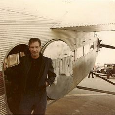 Harrison Ford with the trimotor plane from Indiana Jones and the Temple of Doom